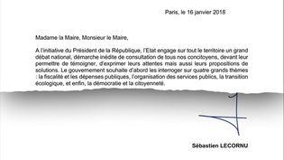 La lettre envoyée le 16 janvier par Sébastien Lecornu aux maires de France. (RADIOFRANCE)
