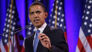 Le candidat démocrate Barack Obama lors de son discours à Philadelphie le 18 mars 2008 (EMMANUEL DUNAND / AFP)