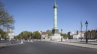 La place de la Bastille à Paris, en plein confinement, le 14 avril 2020. (LP/MATTHIEU DE MARTIGNAC / MAXPPP)