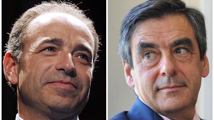 Jean-François Copé (G.) et François Fillon, tous les deux candidats à la présidence de l'UMP. (ALAIN JOCARD / AFP)