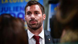 Julien Odoul (RN) lors des élections régionales en Bourgogne-Franche-Comté 2021, à la préfecture de région à Dijon, dimanche 20 juin 2021. (PIERRE DESTRADE / MAXPPP)