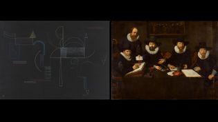 """A gauche, Vassili Kandinsky, """"Von hier bis Dort [D'ici jusque-là]"""", 1933, Centre Pompidou - Musée national d'art moderne - Paris - A droite,Nicolaes EliaszPickenoy, """"De regenten van het Spinhuis"""", 1628, Amsterdam Museum (A gauche © Centre Pompidou, MNAM-CCI, Dist. RMN-Grand Palais - Philippe Migeat - A droite © Amsterdams Historisch Museum)"""