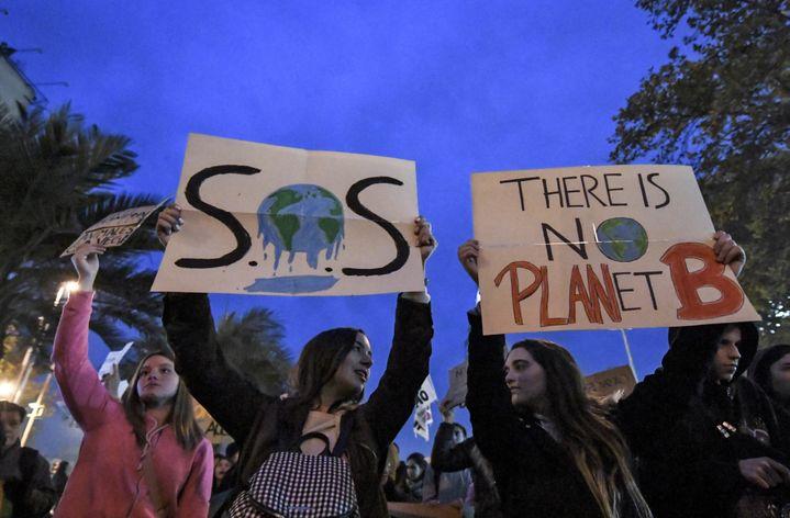 Des jeunes manifestent pour le climat à Santiago (Chili) le 24 mai 2019. (MARTIN BERNETTI / AFP)