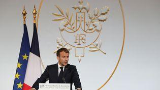 Le président français Emmanuel Macron lors d'une cérémonie à l'Elysée (Paris) le 20 septembre 2021 (STEFANO RELLANDINI / AFP)