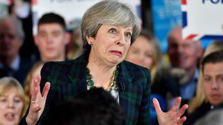 La première ministre britannique Theresa May lors d'un discours à Leeds (Royaume-Uni), le 27 avril 2017. (ANTHONY DEVLIN / AFP)