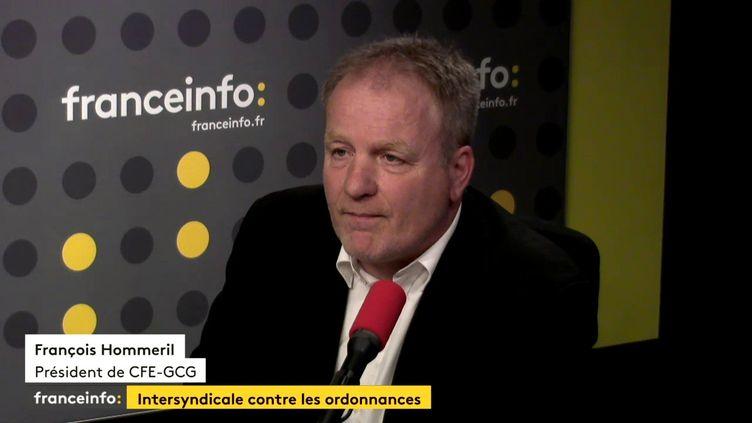 François Hommeril, président de la CFE - GCG, le 9 octobre 2017 sur franceinfo. (RADIO FRANCE)