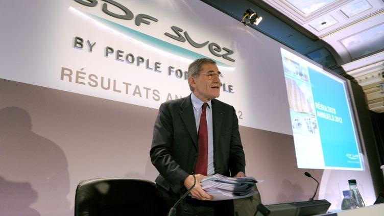 Le PDG de GDF Suez, Gérard Mestrallet, lors de la présentation des résultats annuels du groupe, le 28 février 2013 à Paris. (ERIC PIERMONT / AFP)