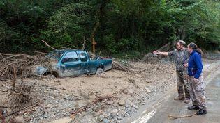 La tempête Alex a causé d'importants dégâts comme ici à Clans (Alpes-Maritimes), le 3 octobre 2020. (CAMY VERRIER / HANS LUCAS / AFP)