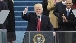 Donald Trump prononce son premier discours en tant que 45e président des Etats-Unis, à Washington, le 20 janvier 2017. (MANDEL NGAN / AFP)