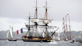 L'Hermione lors des Fêtes maritimes de Brest du 13 au 19 juillet 2016.  (Fred Tanneau / AFP)