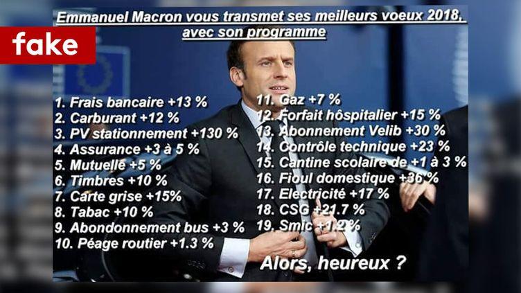 Des intoxs autour de nouvelles taxes d'Emmanuel Macron en 2018. (CAPTURE D'ECRAN/FACEBOOK)
