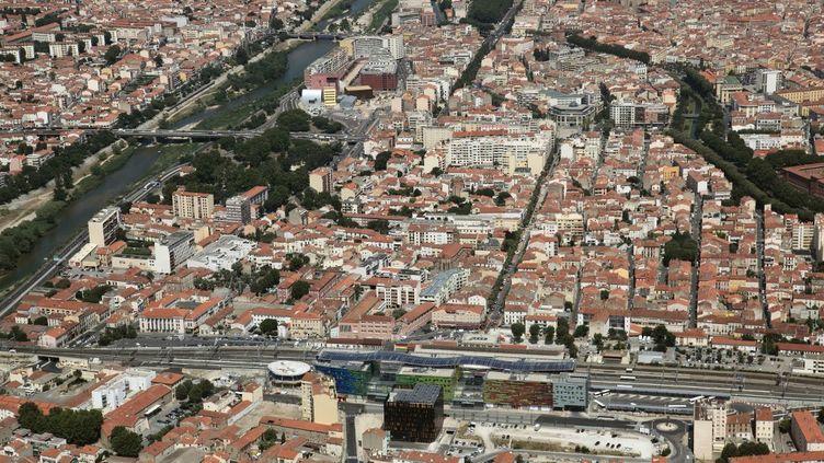 Vue aérienne de Perpignan, le 2 mars 2015. (FREDERIC HEDELIN / ONLY FRANCE)