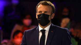 Le président de la République Emmanuel Macron, lors de la première journée du Forum Génération Egalité, le 30 juin 2021 à Paris. (ALBERT CARA / ANADOLU AGENCY / AFP)