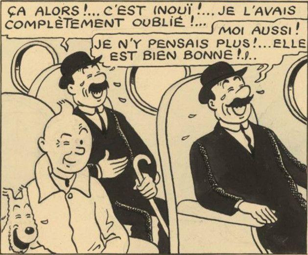 Une partie de la double planche vendue aux enchères chez Artcurial  (Hergé/Moulinsart )