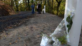 Des fleurs sont posées à l'endroitde l'accident de Puisseguin (Gironde), le 29 octobre 2015. (MEHDI FEDOUACH / AFP)