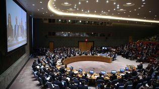 Le Conseil de sécurité de l'ONU réuni sur la situation en Syrie, le 9 avril. (MOHAMMED ELSHAMY / AFP)
