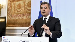 Le ministre français de l'Intérieur Gérald Darmanin lors d'une réunion des préfets français, au ministère de l'Intérieur, place Beauvau à Paris, le 26 août 2021. (STEPHANE DE SAKUTIN / AFP)