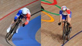 Sébastien Vigier et Mathilde Gros lors des épreuves de cyclisme sur piste aux Jeux de Tokyo. (AFP)