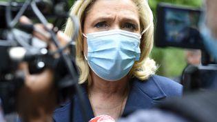 La présidente du Rassemblement national, Marine Le Pen, le 8 juin 2021. (JEAN-CHRISTOPHE VERHAEGEN / AFP)