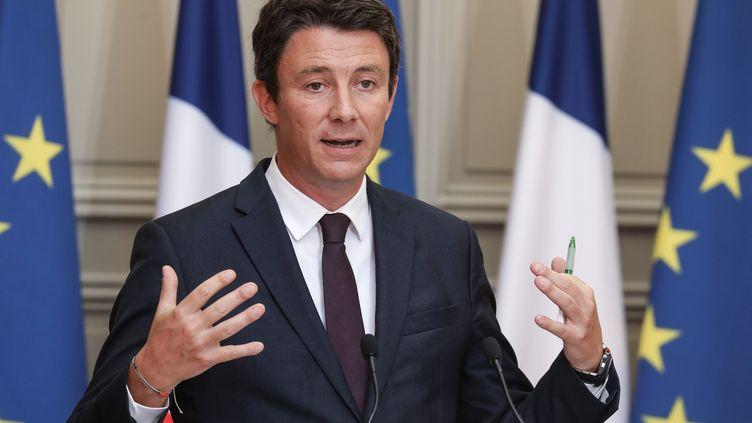 Benjamin Griveaux, porte-parole du gouvernement, lors d'une conférence de presse, à l'Elysée, le 5 septembre 2018. (LUDOVIC MARIN / AFP)