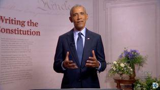Barack Obama lors de son discours à la convention nationale démocrate, diffusé en vidéo sur internet depuis Philadelphie (Pennsylvanie, Etats-Unis), le 19 août 2020. (AFP)