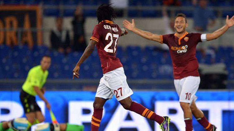 La joie de Gervinho et Francesco Totti