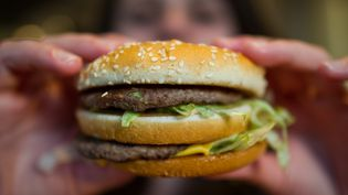 Photo d'illustration d'un hamburger, prise le 22 avril 2015. (CHRISTOPH SCHMIDT / DPA)