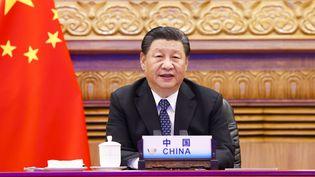 Le président chinois Xi Jinping participe au 13e sommet des BRICS par liaison vidéo à Pékin, capitale de la Chine, le 9 septembre 2021. (HUANG JINGWEN / XINHUA / MAXPPP)