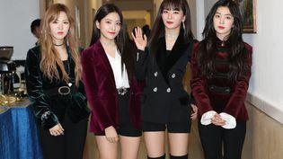 """Le groupe de Corée du sud, """"Red Velvet"""", le 1er avril 2018. (- / KOREA POOL)"""