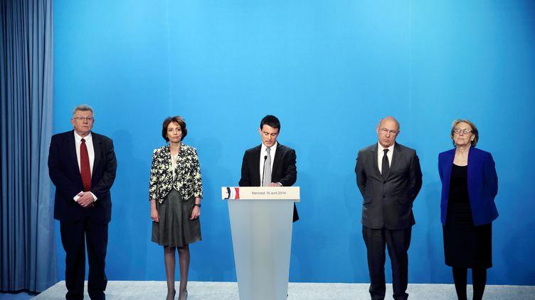 Manuel Valls présente son plan de 50 milliards d'économies à l'Elysée, le 16 avril 2014. (PHILIPPE WOJAZER /  AFP)