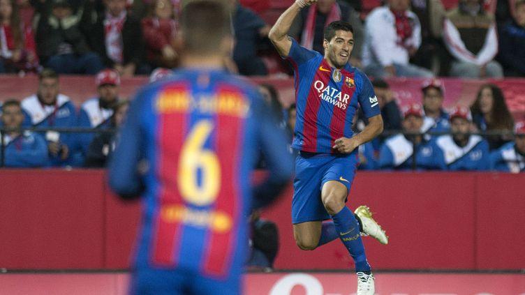 La joie de l'attaquant du Barça Luis Suarez (JORGE GUERRERO / AFP)