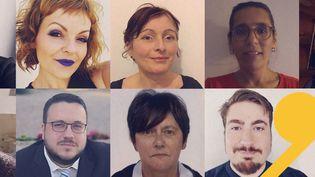 Les neufs participants de la Convention citoyenne pour le climat interrogés le 10 janvier 2020 par franceinfo. (DR)