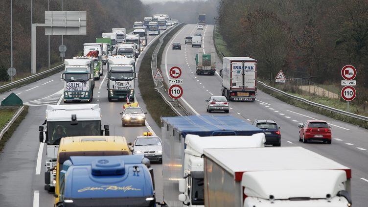 Manifestation de routiers contre les portiques écotaxes, à Nancy (Meurthe-et-Moselle), le 30 novembre 2013. (  MAXPPP)