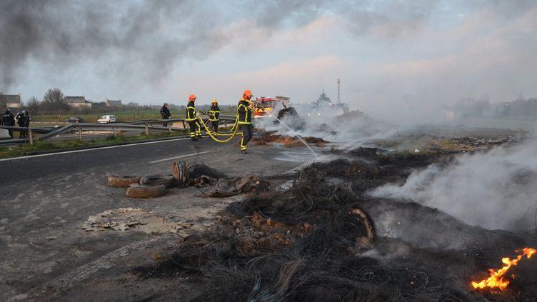 Les agriculteurs présents à Yffiniac (Côte-d'Armor), près de Saint-Brieuc , ont brûléde la paille sur laRN12 (MAXPPP)