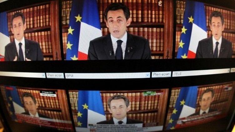 Nicolas Sarkozy prononce un discours télévisé à l'Elysée, le 27 février 2011 (AFP - Thomas Coex)