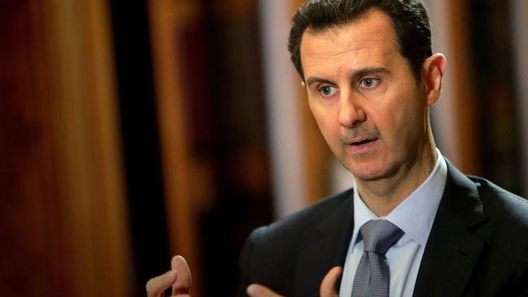Le président syrien Bachar Al-Assad, lors d'une interview à Damas (Syrie), le 20 janvier 2014. (JOSEPH EID / AFP)