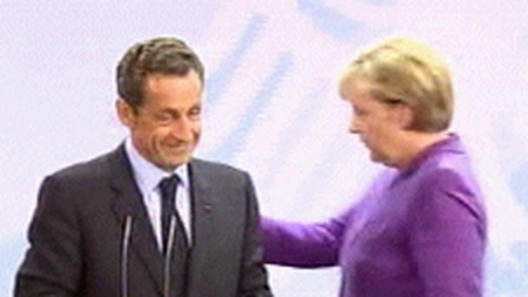 Nicolas Sarkozy et Angela Merkel, août 2009 (© France 3)