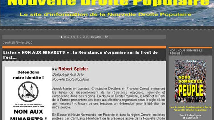 """Le site d'extrême-droite """"Nouvelle droite populaire"""" du régionaliste alsacien Robert Spieler"""