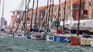 Les voiliers de la Transat Jacques Vabres (ici le 27 octobre 2013) vont devoir rester au ponton jusqu'à lundi 4 novembre en raison des mauvaises conditions météo. (JEAN MARIE LIOT / AFP)