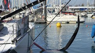Cette année, 19 bateaux sur 33 sont équipés de foils, ces appendices de carbone qui leur permettent de voler au-dessus de l'eau et donc d'aller plus vite. (JÉRÔME VAL / RADIO FRANCE)