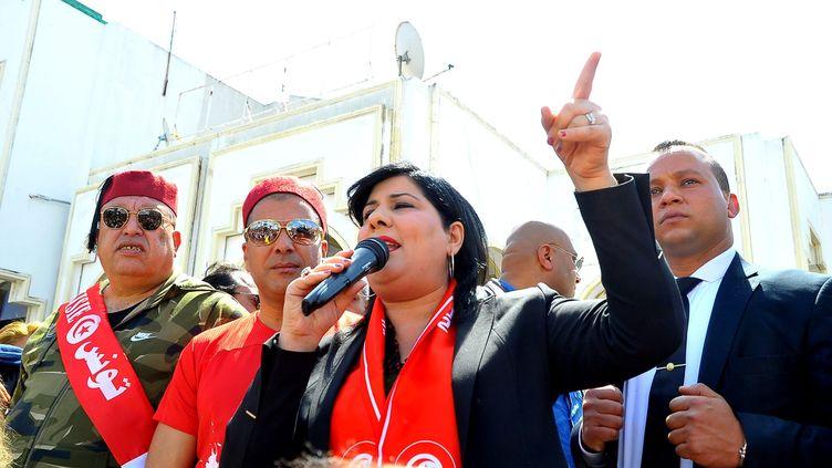 Abir Moussi, ancienne collaboratrice de BenAli pourrait bien arriver au second tour de l'élection présidentielle qui se tient dimanche 15 septembre en Tunisie. (CHOKRI MAHJOUB / MAXPPP)