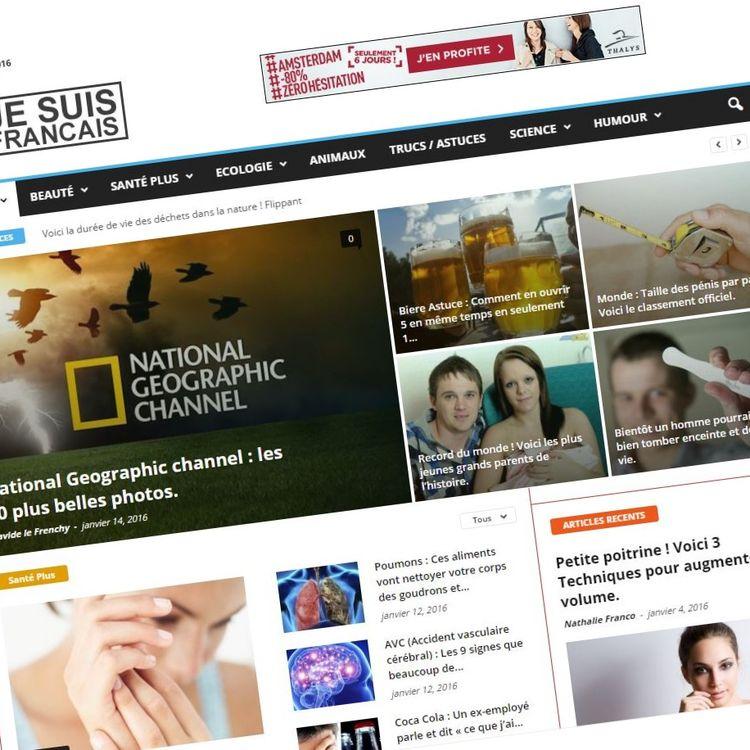 Capture d'écran de la une du site Je Suis Francais créé après les attentats de novembre 2015, le jeudi 14 janvier 2016. (JESUISFRANCAIS)