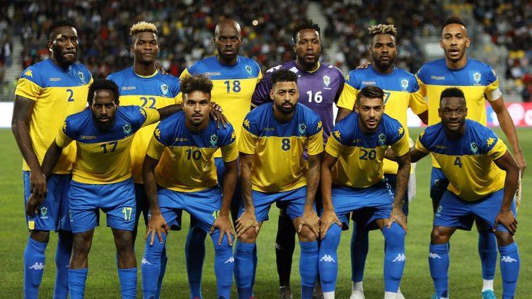 L'équipe nationale de football du Gabon, lors du match amical contre le Maroc le 15 octobre 2019 à Tanger au Maroc. (STR / AFP)
