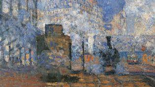"""Détail de """"La gare Saint-Lazare"""", Claude Monet (1840-1926), 1877. Dim : 0,75 x 1,04m. Paris, musee d'Orsay  (Electa/Leemage)"""