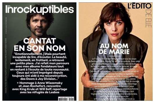 A gauche, la Une des Inrocks sur Cantat, à droite, l'édito de Elle Magazine.  (Les Inrockuptibles / Elle Magazine)