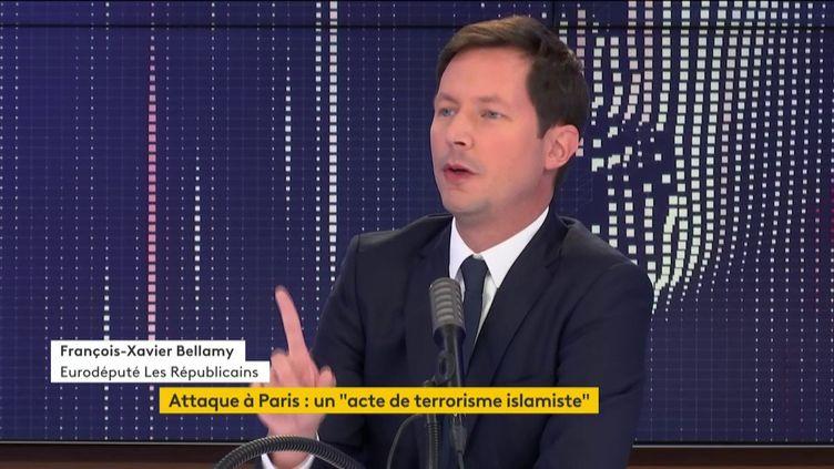 L'eurodéputé LR François-Xavier Bellamy le 26 septembre 2020 sur franceinfo. (FRANCEINFO / RADIOFRANCE)