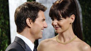 Tom Cruise et Katie Holmes à la soirée organisée par le magazine Vanity Fair à l'occasion des Oscars, le 26 février 2012 à Los Angeles (Californie, Etats-Unis). (EVAN AGOSTINI / AP / SIPA)