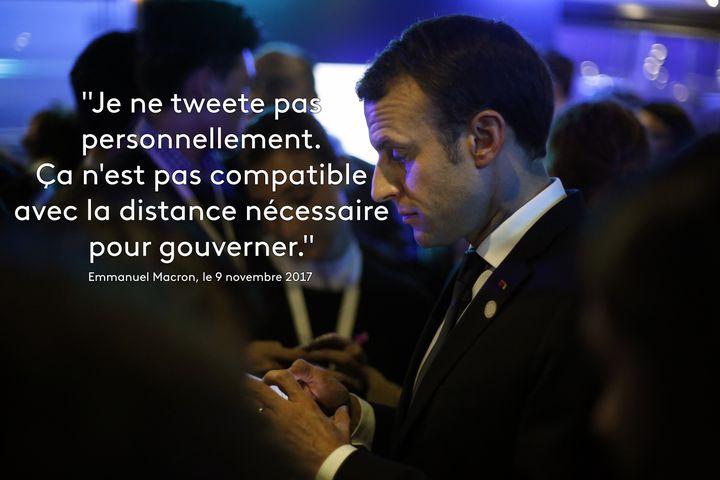 """Emmanuel Macron, photographié le 12 décembre 2017 à Paris, avait critiqué en creux l'utilisation compulsive de Twitter par son homologue américain dans une interview au """"Time"""". (THIBAULT CAMUS / AFP)"""