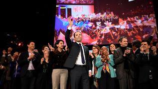 Benoît Hamon en meeting à Bercy, à Paris, le 19 mars 2017 (ERIC FEFERBERG / AFP)
