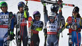 L'équipe de France de ski, championne du monde de ski alpin,à Saint-Moritz (Suisse), le 14 février. (DIMITAR DILKOFF / AFP)